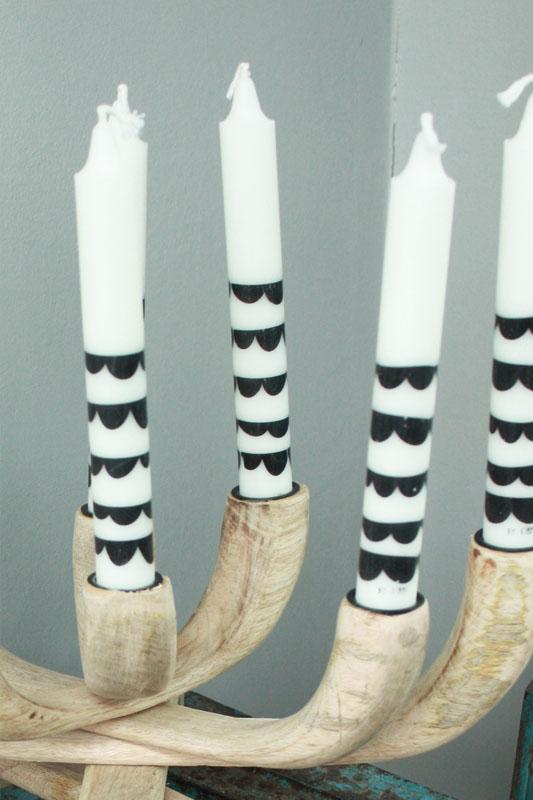 Kaars by Kimmi met zwart patroon
